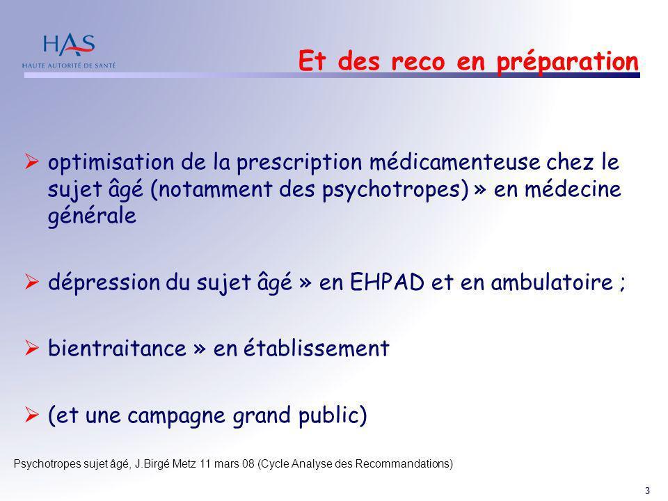 3 Psychotropes sujet âgé, J.Birgé Metz 11 mars 08 (Cycle Analyse des Recommandations) Et des reco en préparation optimisation de la prescription médic
