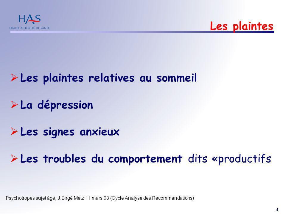 4 Psychotropes sujet âgé, J.Birgé Metz 11 mars 08 (Cycle Analyse des Recommandations) Les plaintes Les plaintes relatives au sommeil La dépression Les