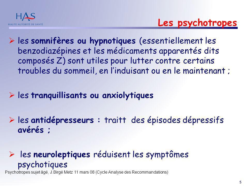 5 Psychotropes sujet âgé, J.Birgé Metz 11 mars 08 (Cycle Analyse des Recommandations) Les psychotropes les somnifères ou hypnotiques (essentiellement