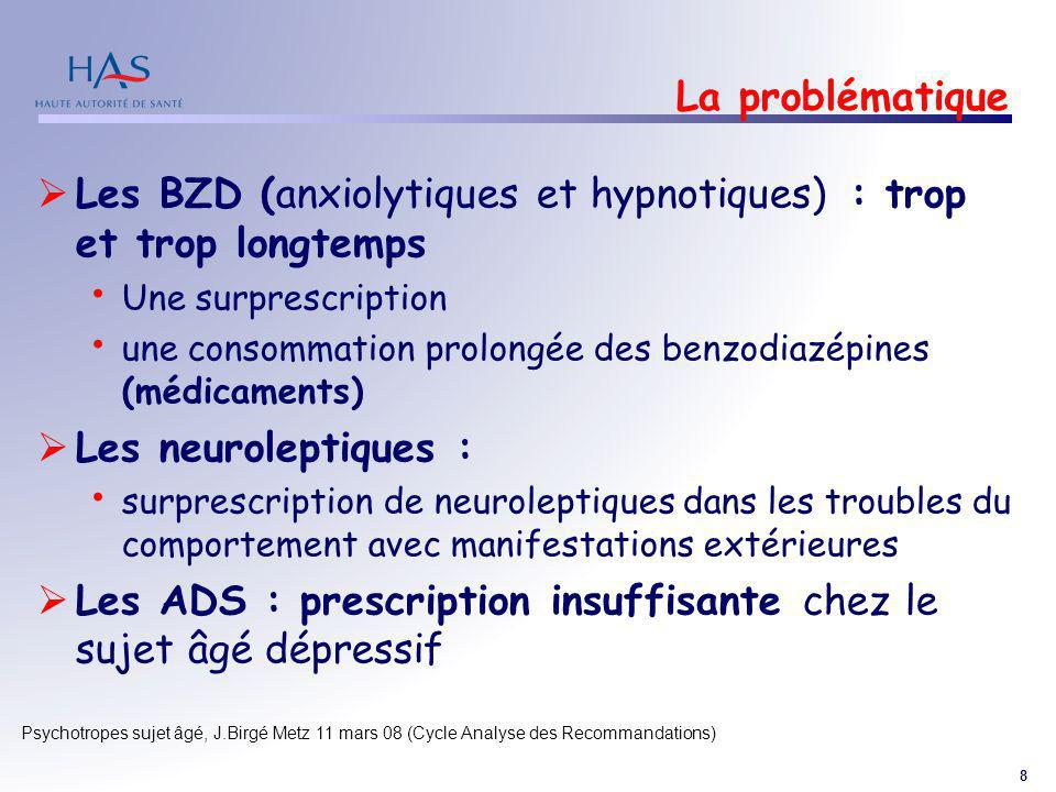 8 Psychotropes sujet âgé, J.Birgé Metz 11 mars 08 (Cycle Analyse des Recommandations) La problématique Les BZD (anxiolytiques et hypnotiques) : trop e