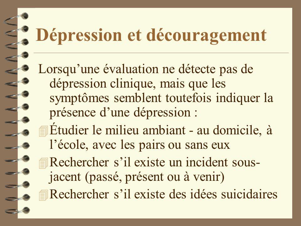 Dépression et découragement Lorsquune évaluation ne détecte pas de dépression clinique, mais que les symptômes semblent toutefois indiquer la présence
