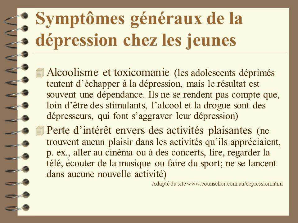 Symptômes généraux de la dépression chez les jeunes 4 Alcoolisme et toxicomanie (les adolescents déprimés tentent déchapper à la dépression, mais le r