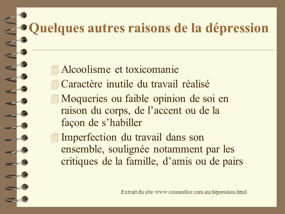 Quelques autres raisons de la dépression 4 Alcoolisme et toxicomanie 4 Caractère inutile du travail réalisé 4 Moqueries ou faible opinion de soi en ra