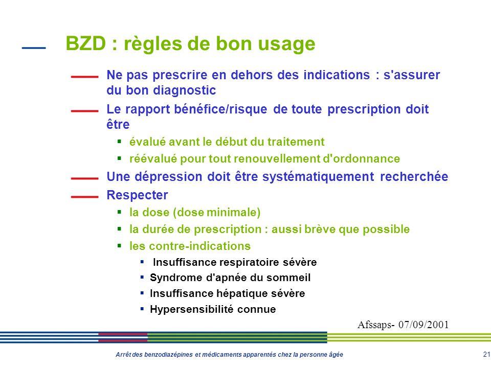 21 Arrêt des benzodiazépines et médicaments apparentés chez la personne âgée BZD : règles de bon usage Ne pas prescrire en dehors des indications : s'