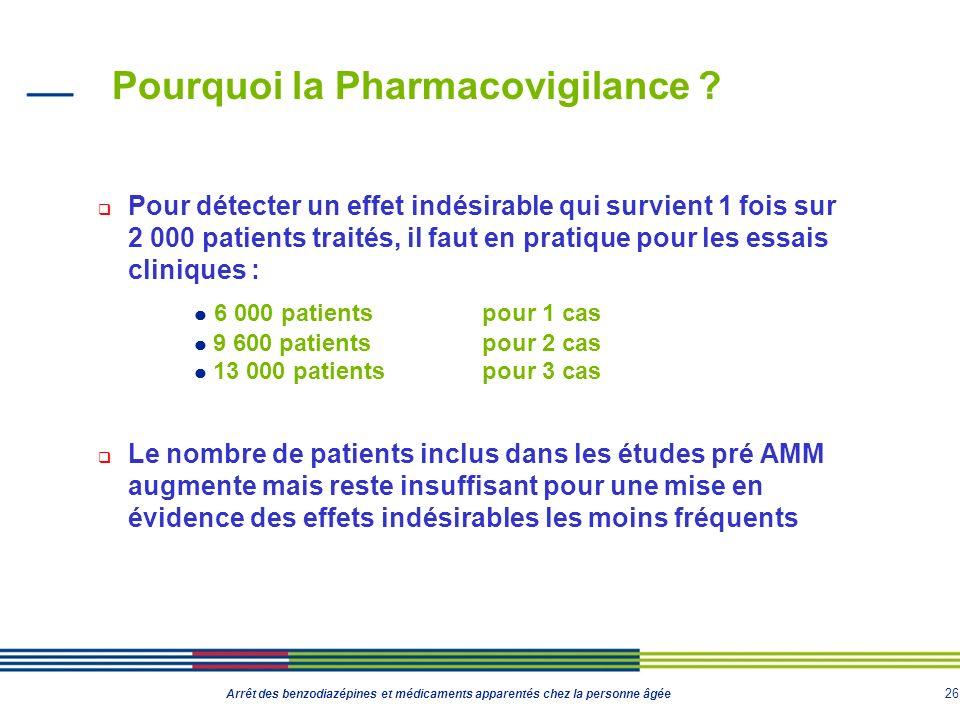 26 Arrêt des benzodiazépines et médicaments apparentés chez la personne âgée Pourquoi la Pharmacovigilance ? Pour détecter un effet indésirable qui su
