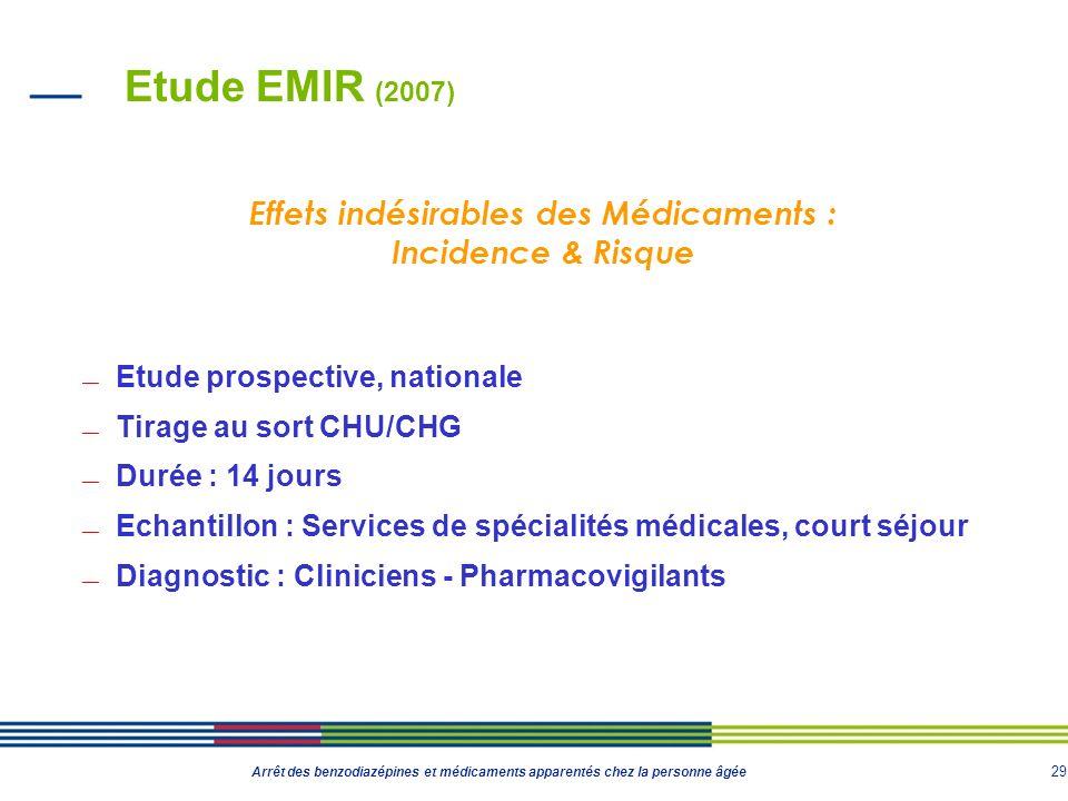 29 Arrêt des benzodiazépines et médicaments apparentés chez la personne âgée Etude EMIR (2007) Etude prospective, nationale Tirage au sort CHU/CHG Dur