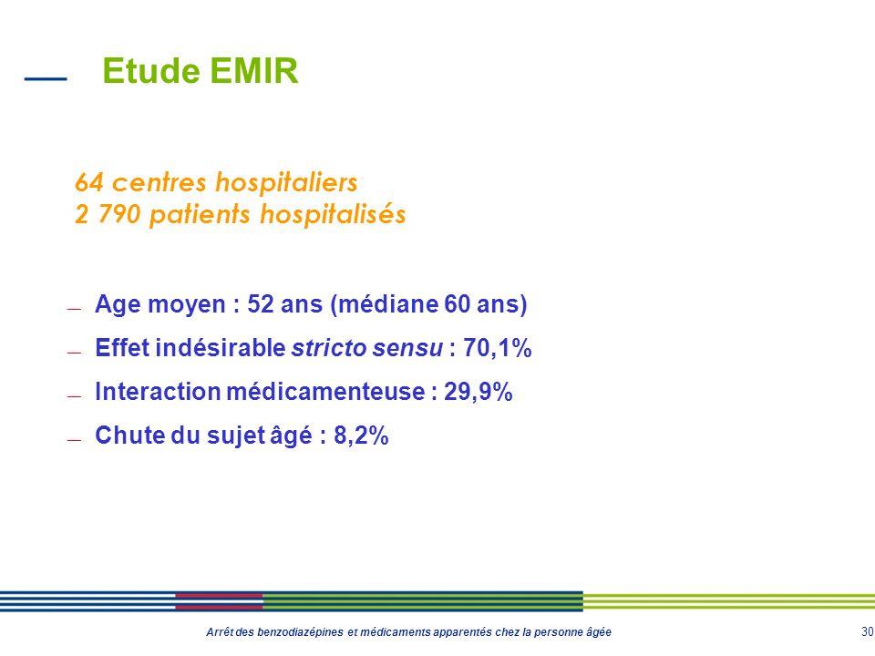 30 Arrêt des benzodiazépines et médicaments apparentés chez la personne âgée Etude EMIR Age moyen : 52 ans (médiane 60 ans) Effet indésirable stricto