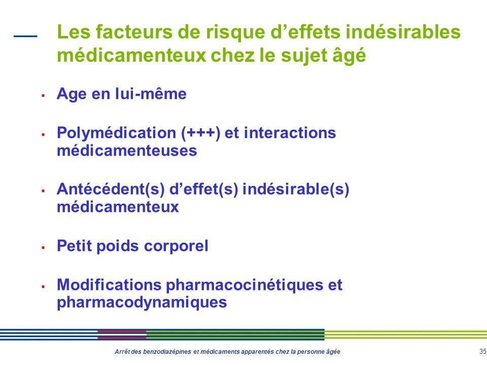 35 Arrêt des benzodiazépines et médicaments apparentés chez la personne âgée Les facteurs de risque deffets indésirables médicamenteux chez le sujet â
