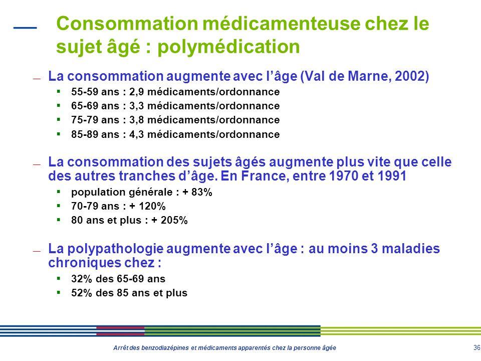 36 Arrêt des benzodiazépines et médicaments apparentés chez la personne âgée Consommation médicamenteuse chez le sujet âgé : polymédication La consomm