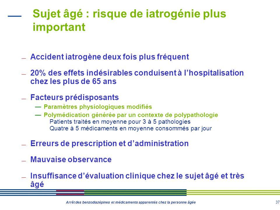 37 Arrêt des benzodiazépines et médicaments apparentés chez la personne âgée Sujet âgé : risque de iatrogénie plus important Accident iatrogène deux f