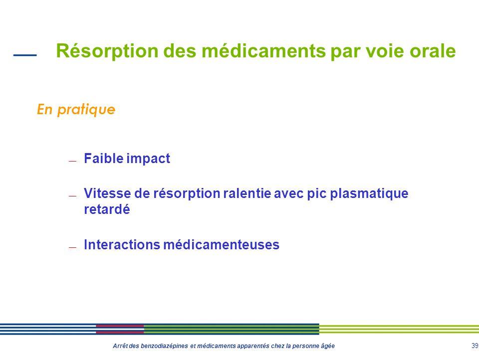 39 Arrêt des benzodiazépines et médicaments apparentés chez la personne âgée Résorption des médicaments par voie orale Faible impact Vitesse de résorp