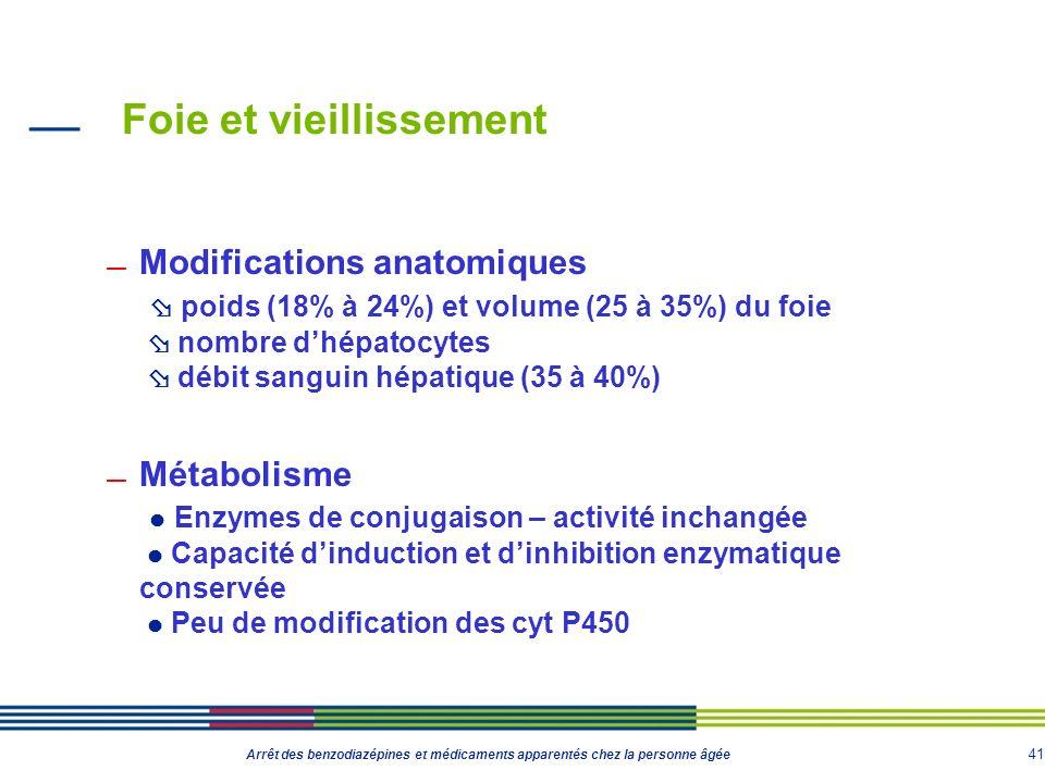 41 Arrêt des benzodiazépines et médicaments apparentés chez la personne âgée Foie et vieillissement Modifications anatomiques poids (18% à 24%) et vol
