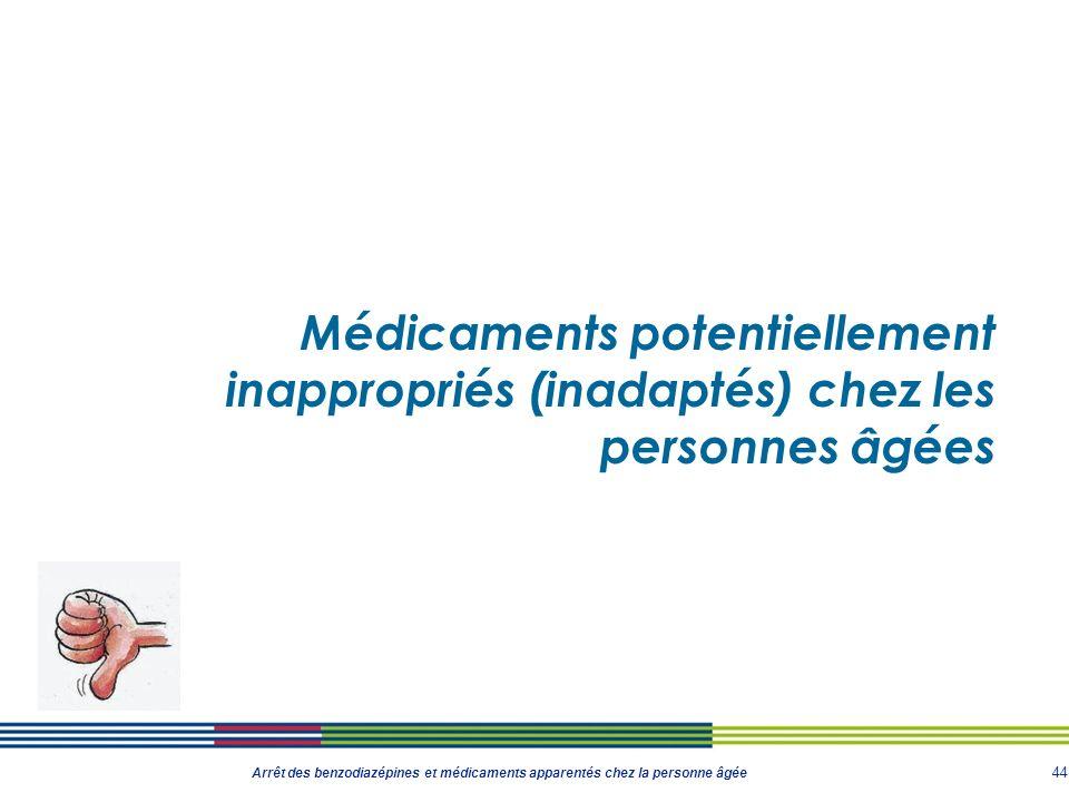 44 Arrêt des benzodiazépines et médicaments apparentés chez la personne âgée Médicaments potentiellement inappropriés (inadaptés) chez les personnes â