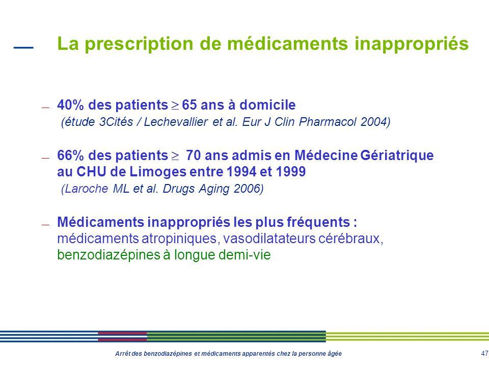 47 Arrêt des benzodiazépines et médicaments apparentés chez la personne âgée La prescription de médicaments inappropriés 40% des patients 65 ans à dom