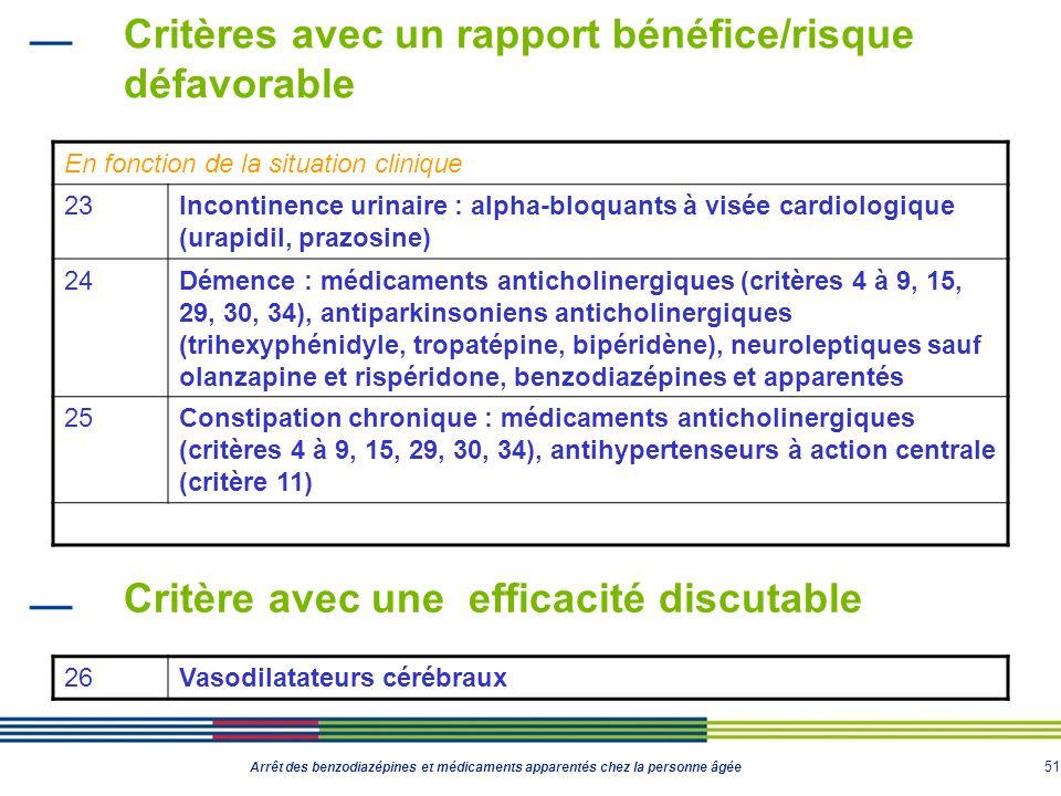 51 Arrêt des benzodiazépines et médicaments apparentés chez la personne âgée Critères avec un rapport bénéfice/risque défavorable En fonction de la si