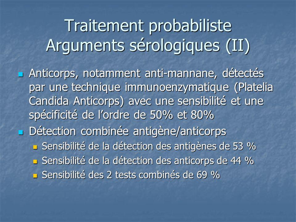Traitement probabiliste Arguments sérologiques (II) Anticorps, notamment anti-mannane, détectés par une technique immunoenzymatique (Platelia Candida