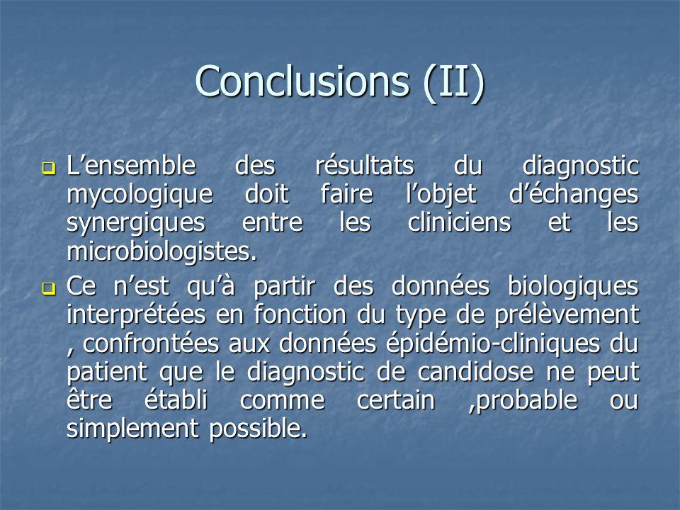 Conclusions (II) Lensemble des résultats du diagnostic mycologique doit faire lobjet déchanges synergiques entre les cliniciens et les microbiologiste