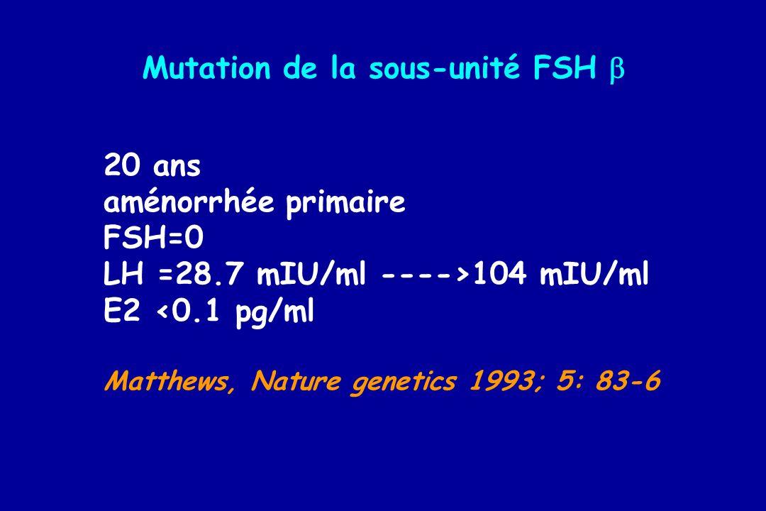 20 ans aménorrhée primaire FSH=0 LH =28.7 mIU/ml ---->104 mIU/ml E2 <0.1 pg/ml Matthews, Nature genetics 1993; 5: 83-6 Mutation de la sous-unité FSH