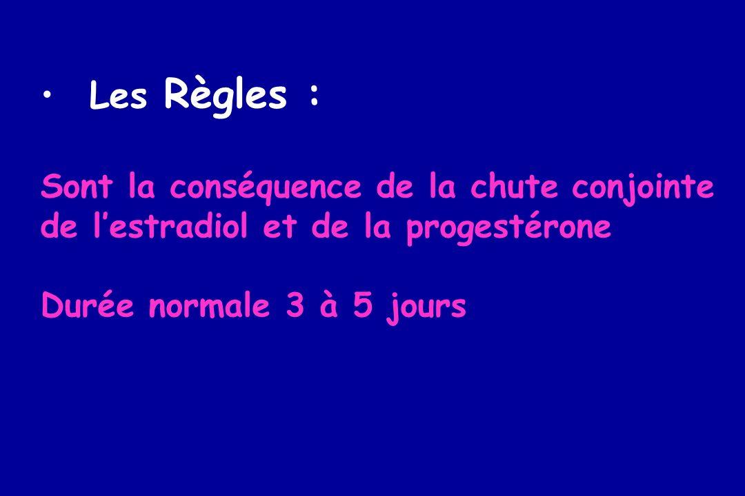 Les Règles : Sont la conséquence de la chute conjointe de lestradiol et de la progestérone Durée normale 3 à 5 jours