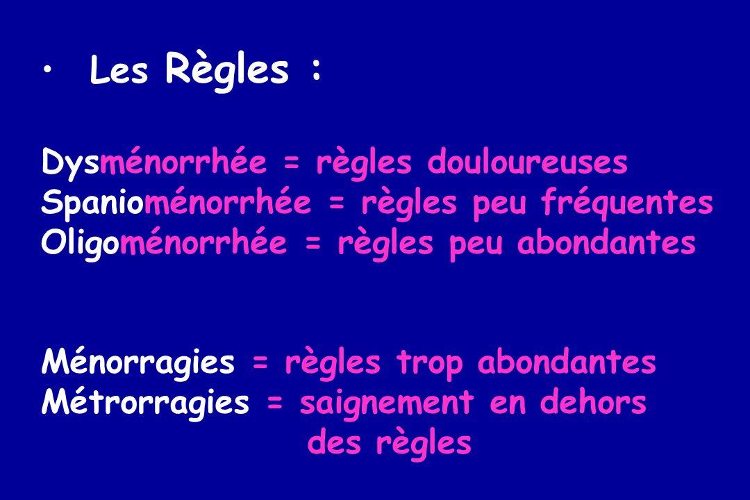 Les Règles : Dysménorrhée = règles douloureuses Spanioménorrhée = règles peu fréquentes Oligoménorrhée = règles peu abondantes Ménorragies = règles tr