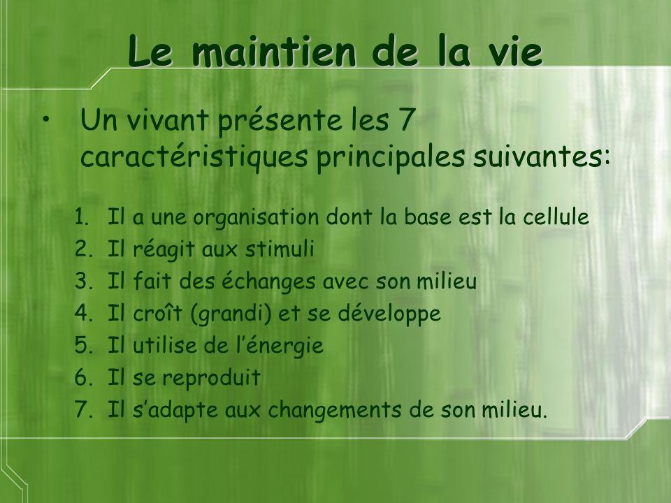Le maintien de la vie Un vivant présente les 7 caractéristiques principales suivantes: 1.Il a une organisation dont la base est la cellule 2.Il réagit