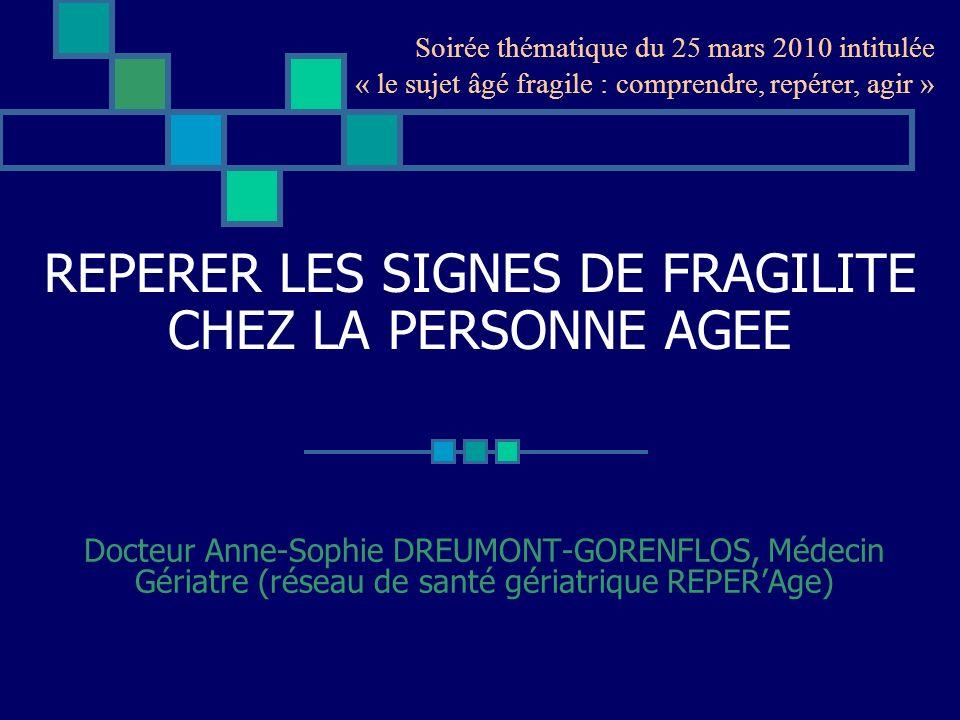 REPERER LES SIGNES DE FRAGILITE CHEZ LA PERSONNE AGEE Docteur Anne-Sophie DREUMONT-GORENFLOS, Médecin Gériatre (réseau de santé gériatrique REPERAge)