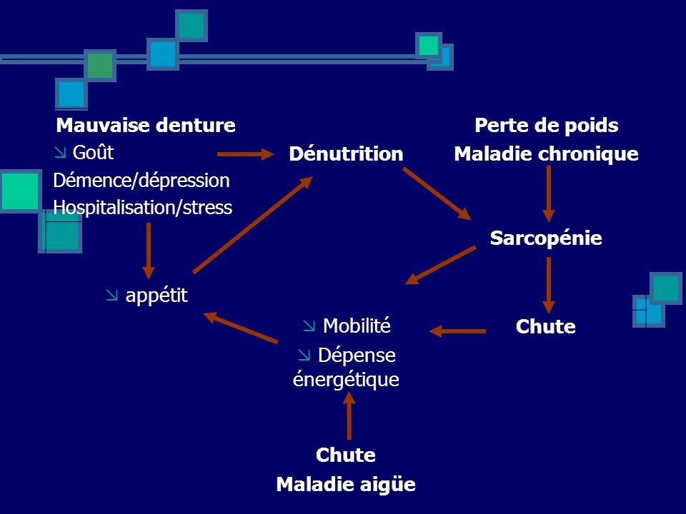 Mauvaise denture Goût Démence/dépression Hospitalisation/stress Dénutrition Perte de poids Maladie chronique appétit Sarcopénie Mobilité Dépense énerg