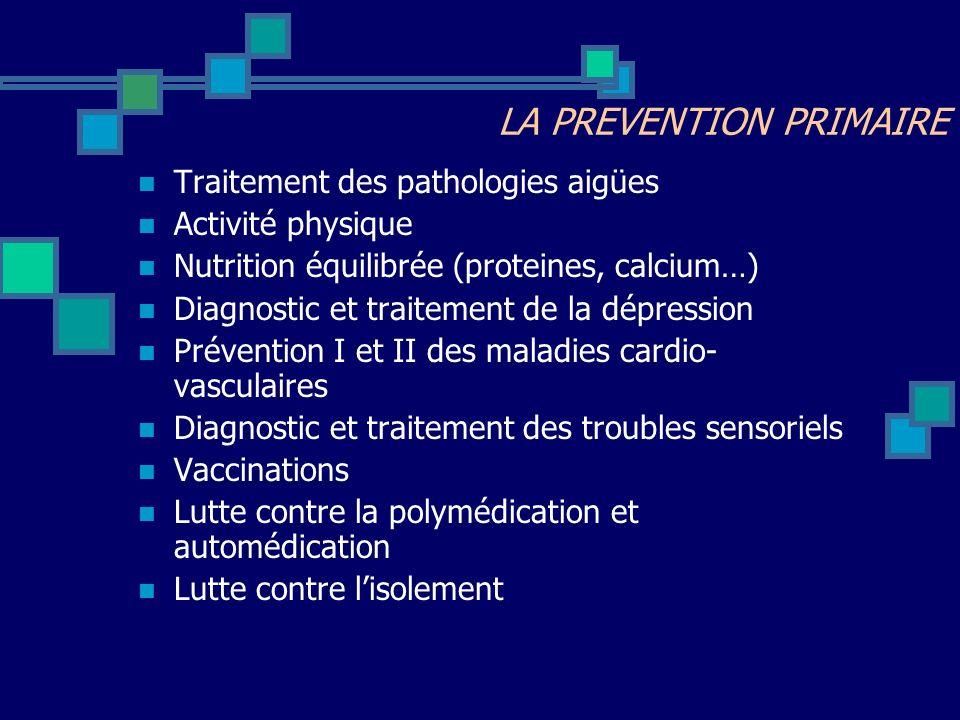 Traitement des pathologies aigües Activité physique Nutrition équilibrée (proteines, calcium…) Diagnostic et traitement de la dépression Prévention I