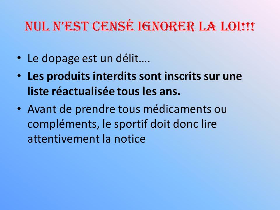 Nul nest censé ignorer la loi!!! Le dopage est un délit…. Les produits interdits sont inscrits sur une liste réactualisée tous les ans. Avant de prend