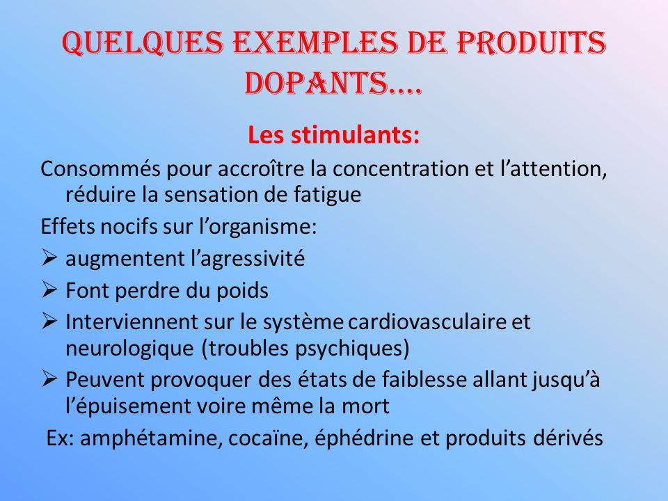 Quelques exemples de produits dopants…. Les stimulants: Consommés pour accroître la concentration et lattention, réduire la sensation de fatigue Effet