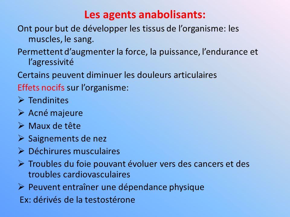 Les agents anabolisants: Ont pour but de développer les tissus de lorganisme: les muscles, le sang. Permettent daugmenter la force, la puissance, lend