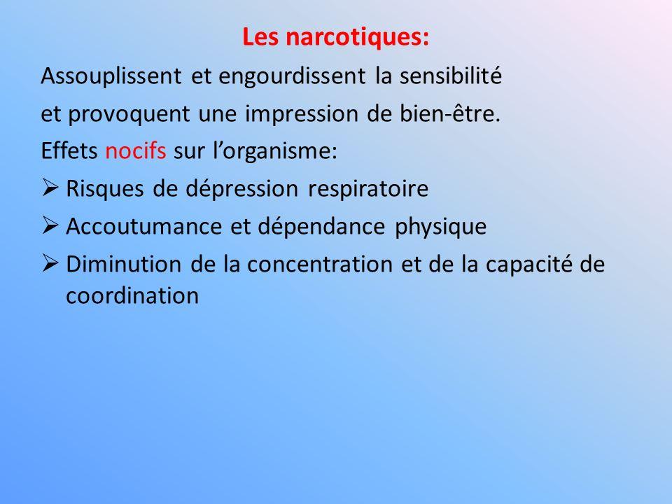 Les narcotiques: Assouplissent et engourdissent la sensibilité et provoquent une impression de bien-être. Effets nocifs sur lorganisme: Risques de dép
