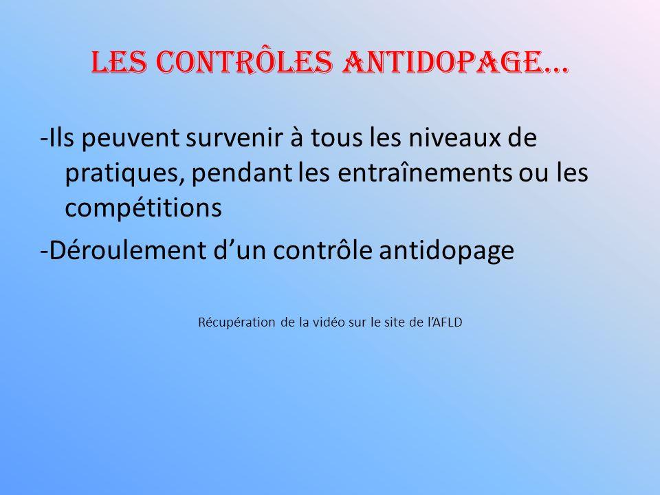 Les contrôles antidopage… -Ils peuvent survenir à tous les niveaux de pratiques, pendant les entraînements ou les compétitions -Déroulement dun contrô