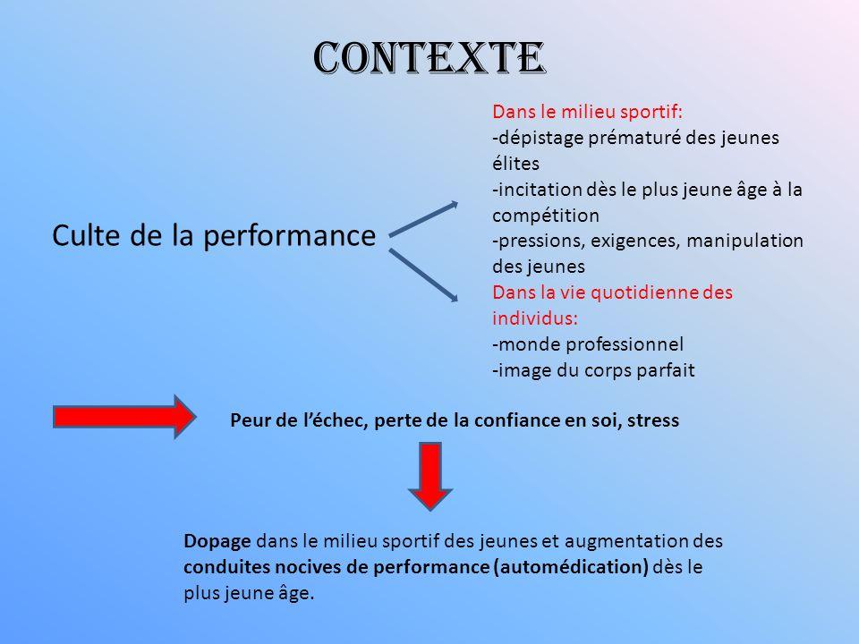 Contexte Culte de la performance Dans le milieu sportif: -dépistage prématuré des jeunes élites -incitation dès le plus jeune âge à la compétition -pr