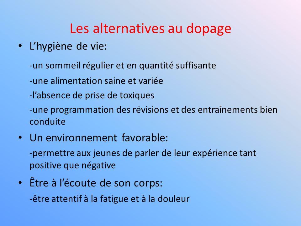 Les alternatives au dopage Lhygiène de vie: -un sommeil régulier et en quantité suffisante -une alimentation saine et variée -labsence de prise de tox