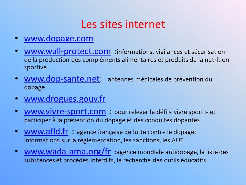Les sites internet www.dopage.com www.wall-protect.com : informations, vigilances et sécurisation de la production des compléments alimentaires et pro