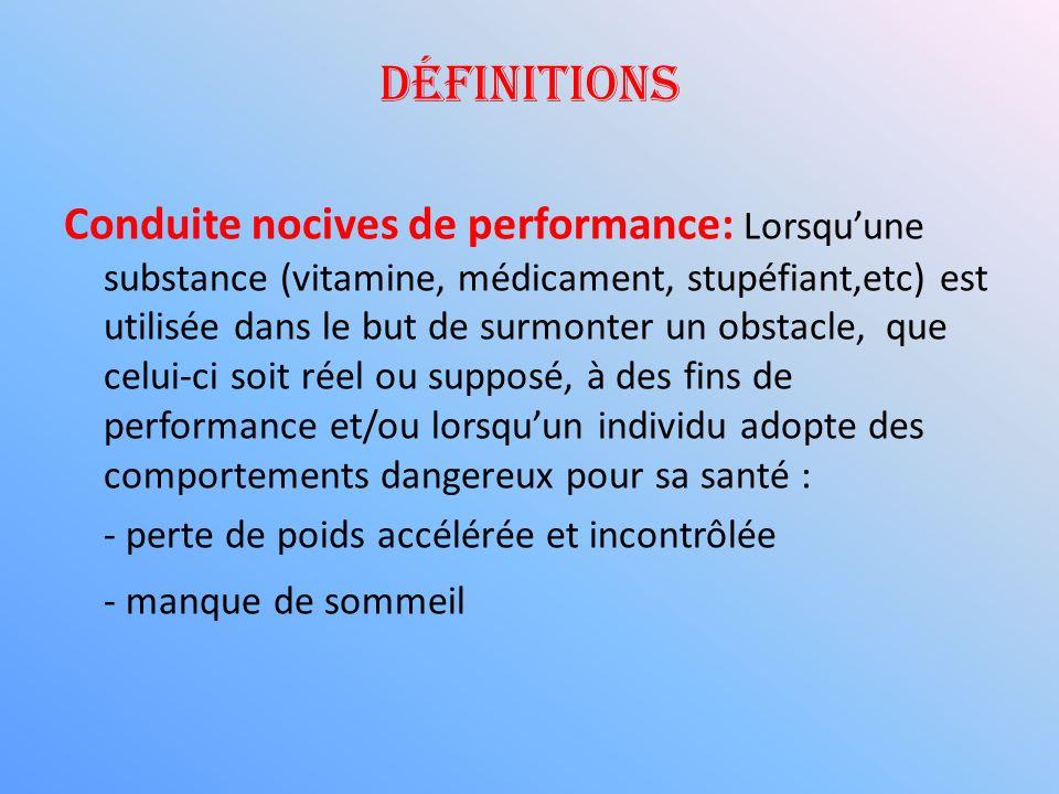 Conduite nocives de performance: Lorsquune substance (vitamine, médicament, stupéfiant,etc) est utilisée dans le but de surmonter un obstacle, que cel