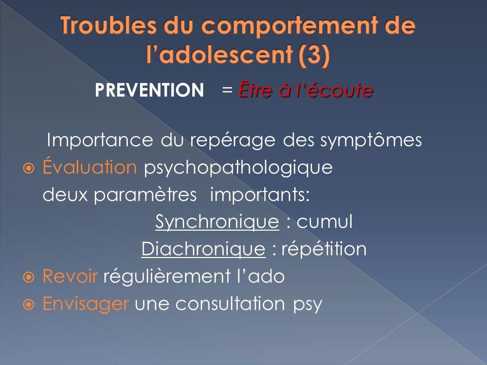 Être à lécoute PREVENTION = Être à lécoute Importance du repérage des symptômes Évaluation psychopathologique deux paramètres importants: Synchronique