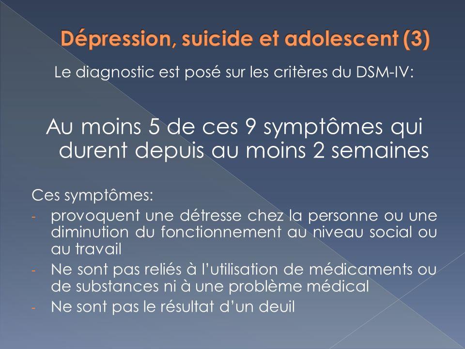 Le diagnostic est posé sur les critères du DSM-IV: Au moins 5 de ces 9 symptômes qui durent depuis au moins 2 semaines Ces symptômes: - provoquent une