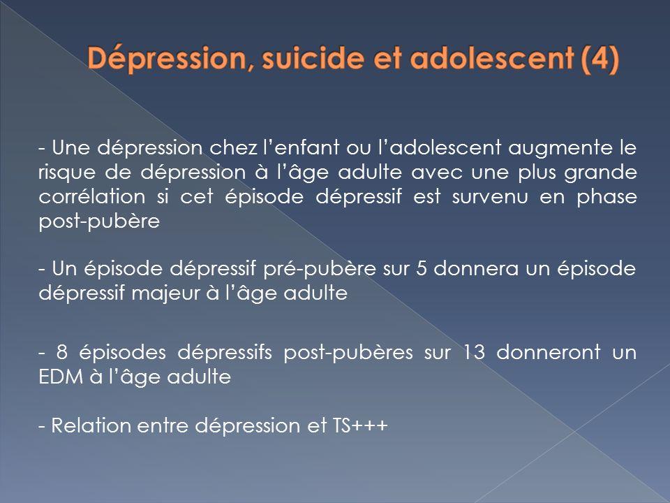 - Une dépression chez lenfant ou ladolescent augmente le risque de dépression à lâge adulte avec une plus grande corrélation si cet épisode dépressif