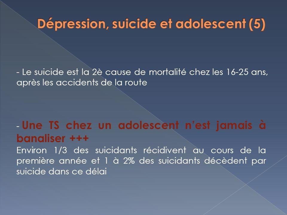 - Le suicide est la 2è cause de mortalité chez les 16-25 ans, après les accidents de la route - Une TS chez un adolescent nest jamais à banaliser +++