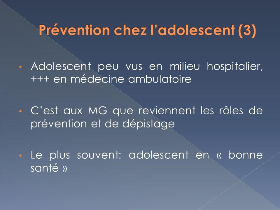 Adolescent peu vus en milieu hospitalier, +++ en médecine ambulatoire Cest aux MG que reviennent les rôles de prévention et de dépistage Le plus souve