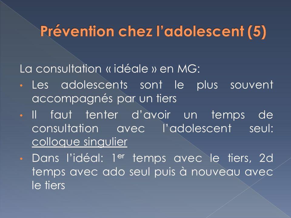 La consultation « idéale » en MG: Les adolescents sont le plus souvent accompagnés par un tiers Il faut tenter davoir un temps de consultation avec la