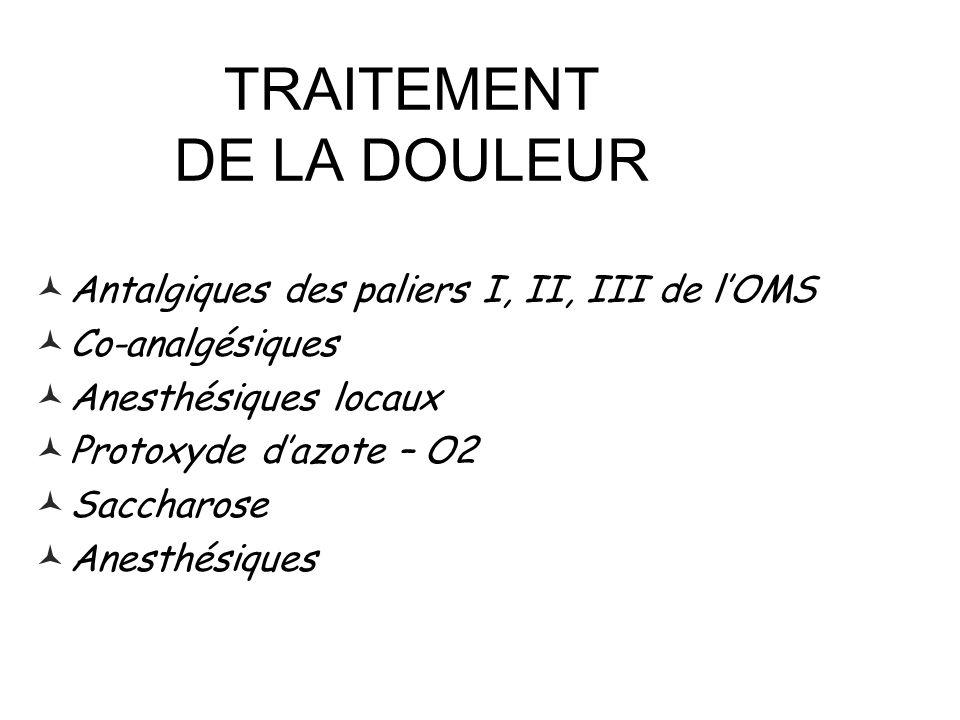 TRAITEMENT DE LA DOULEUR Antalgiques des paliers I, II, III de lOMS Co-analgésiques Anesthésiques locaux Protoxyde dazote – O2 Saccharose Anesthésique