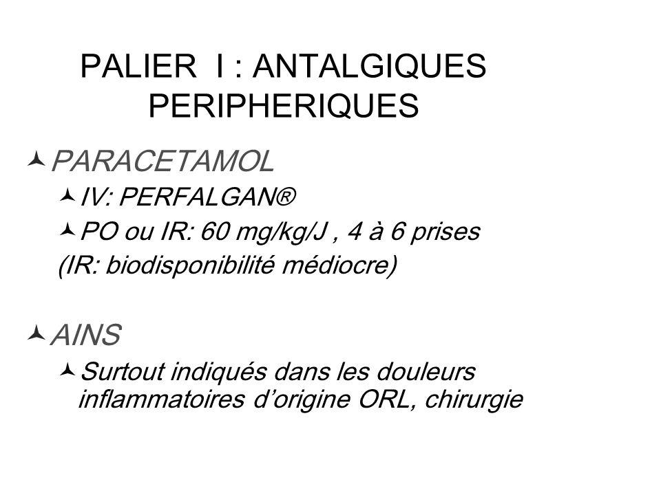PALIER I : ANTALGIQUES PERIPHERIQUES PARACETAMOL IV: PERFALGAN® PO ou IR: 60 mg/kg/J, 4 à 6 prises (IR: biodisponibilité médiocre) AINS Surtout indiqu