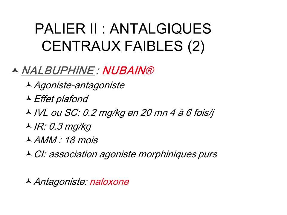 PALIER II : ANTALGIQUES CENTRAUX FAIBLES (2) NALBUPHINE : NUBAIN® Agoniste-antagoniste Effet plafond IVL ou SC: 0.2 mg/kg en 20 mn 4 à 6 fois/j IR: 0.