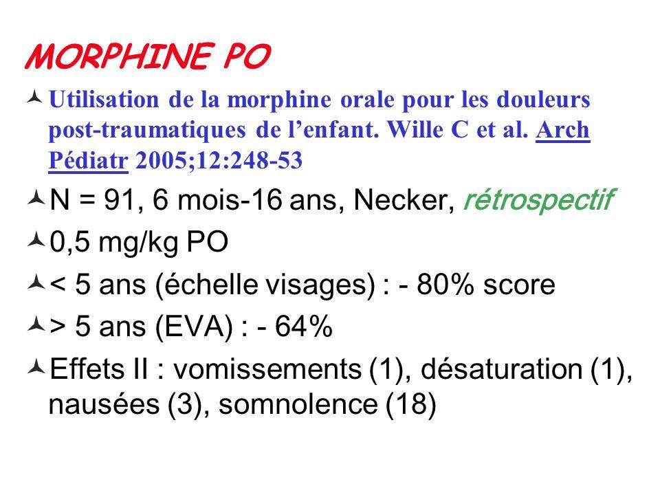 MORPHINE PO Utilisation de la morphine orale pour les douleurs post-traumatiques de lenfant. Wille C et al. Arch Pédiatr 2005;12:248-53 N = 91, 6 mois