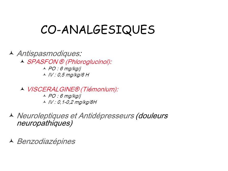 CO-ANALGESIQUES Antispasmodiques: SPASFON ® (Phloroglucinol): PO : 6 mg/kg/j IV : 0,5 mg/kg/6 H VISCERALGINE® (Tiémonium): PO : 6 mg/kg/j IV : 0,1-0,2