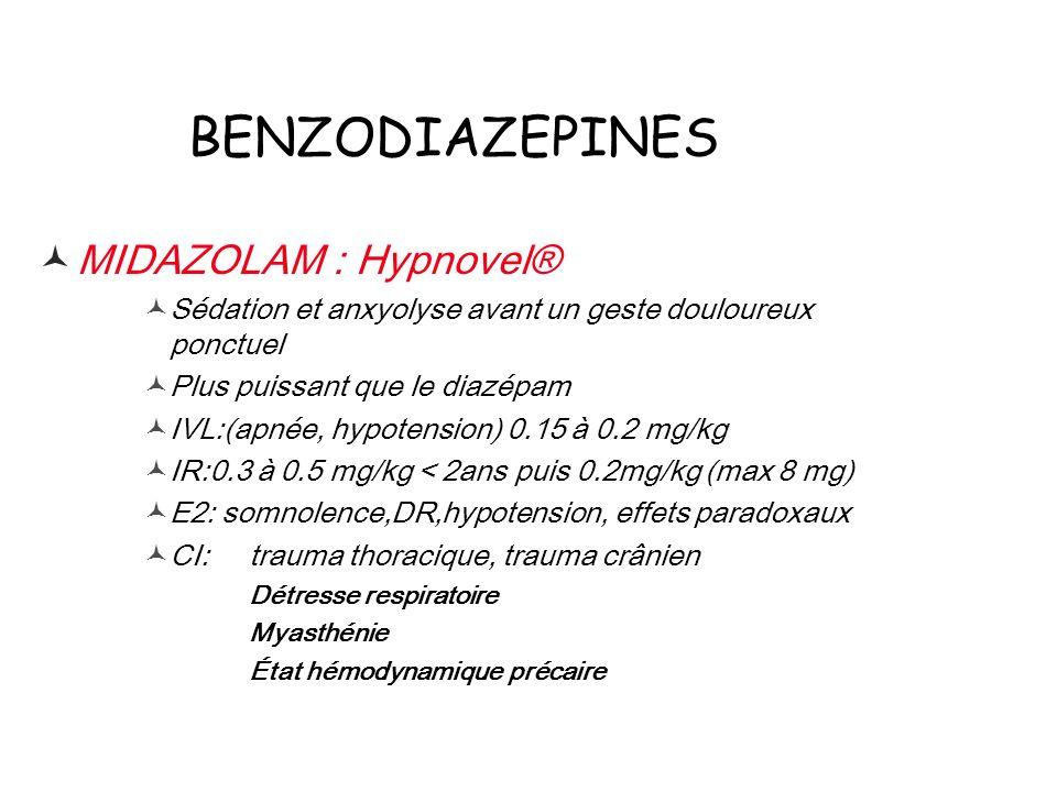 BENZODIAZEPINES MIDAZOLAM : Hypnovel® Sédation et anxyolyse avant un geste douloureux ponctuel Plus puissant que le diazépam IVL:(apnée, hypotension)