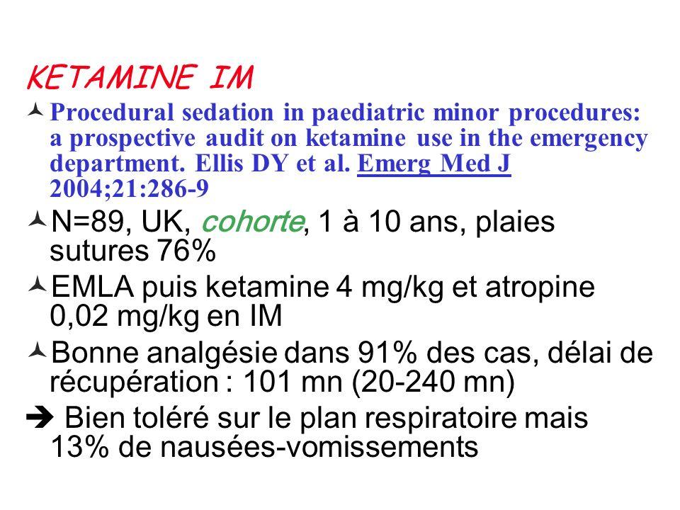 KETAMINE IM Procedural sedation in paediatric minor procedures: a prospective audit on ketamine use in the emergency department. Ellis DY et al. Emerg